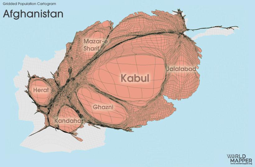 afghanistan gridded population cartogram